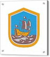 Sailing Ship Galleon Crest Retro Woodcut Acrylic Print
