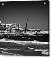 Salou Waterfront Properties And The Els Pilons Sculpture On The Costa Dorada Catalonia Spain Acrylic Print