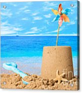 Sandcastle On Beach Acrylic Print