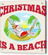 Santa Claus Father Christmas Beach Relaxing Acrylic Print by Aloysius Patrimonio