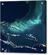 Satellite View Of Turks And Caicos Acrylic Print