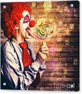 Scary Circus Clown At Horror Birthday Party Acrylic Print