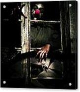 Scary Clown Clawing Window Acrylic Print