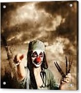 Scary Clown Doctor Throwing Knives Outdoors Acrylic Print