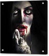 Scary Vampire Woman. Bloody Halloween Horror Acrylic Print