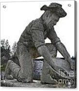Scuplture Of Gold Rush Miner Claude Chana Acrylic Print