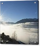Sea Of Fog With Sunbeam Acrylic Print