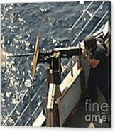 Seaman Fires A .50-caliber Machine Gun Acrylic Print
