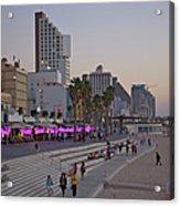 Seaside Promenade Of Tel Aviv At Dusk Acrylic Print