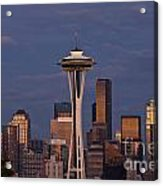 Seattle Skyline And Space Needle With City Lights Acrylic Print