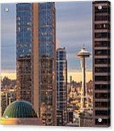 Seattle Space Needle Golden Sunset Light Acrylic Print