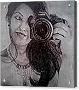 Selfie Pencil Sketch Acrylic Print