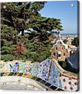 Serpentine Bench In Park Gueli In Barcelona Acrylic Print