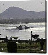 Shalimar Garden The Dal Lake And Mountains Acrylic Print