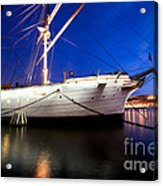Ship At Night In Stockholm Acrylic Print