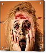 Shocked Horror Halloween Zombie With Hands Face Acrylic Print