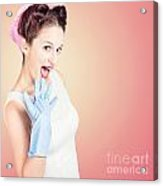 Shocked Pin-up Cleaner Girl With Funny Expression Acrylic Print