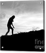 Silhouette Of Girl Pointing Acrylic Print