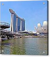 Singapore Artscience Museum Double Helix Bridge And Marina Bay  Acrylic Print