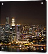 Singapore City Skyline At Night Acrylic Print