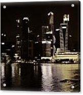 Singapore Skyline As Seen From The Pedestrian Bridge Acrylic Print
