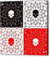 Skull Black Red White Pattern Background Acrylic Print