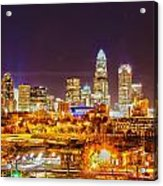 Skyline Of Uptown Charlotte North Carolina At Night Acrylic Print