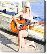 Smiling Girl Strumming Guitar At Tropical Beach Acrylic Print