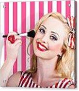Smiling Makeup Girl Using Cosmetic Powder Brush Acrylic Print