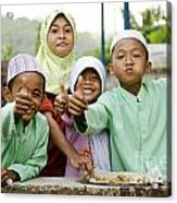 Smiling Muslim Children In Bali Indonesia Acrylic Print