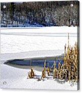 Snow On Lake Acrylic Print
