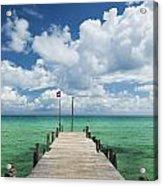 Sok San Pier On Long Beach In Koh Rong Island Cambodia Acrylic Print