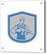 Soldier Military Serviceman Rifle Side Crest Retro Acrylic Print