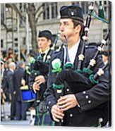 Some Bagpipers Marching In The 2009 New York St. Patrick Day Parade Acrylic Print