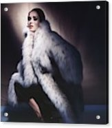 Sondra Peterson Wearing Fur Coat Acrylic Print