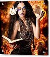 Sorcerer Casting Black Magic Spells Of Fire Acrylic Print