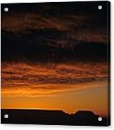 South Rim Grand Canyon Dramatic Clouds Sunset With Silhouetted R Acrylic Print