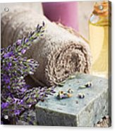 Spa With Lavender And Towel Acrylic Print