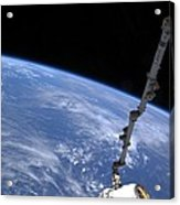 Spacex Dragon Capsule At The Iss Acrylic Print