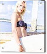 Sports Person Carrying Surf Board Outdoors Acrylic Print