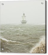 Spring Point Ledge Lighthouse In Storm In Portland Maine Acrylic Print