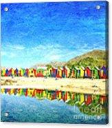 St James Beach Huts South Africa Acrylic Print