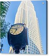 Standing By The Clock On City Intersection At Charlotte Downtown Acrylic Print