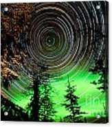 Star Trails And Northern Lights In Sky Over Taiga Acrylic Print