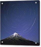 Star Trails Over Mt Taranaki New Zealand Acrylic Print