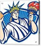 Statue Of Liberty Throwing Football Ball Acrylic Print