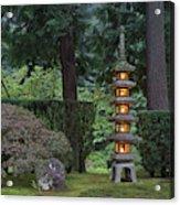 Stone Lantern Illuminated With Candles Acrylic Print