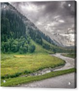 storm clouds over mountains of ladakh Jammu and Kashmir India Acrylic Print