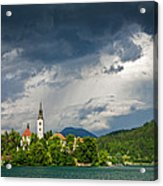 Storm Light Over Lake Bled Acrylic Print