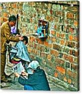 Streetside Barbershop In Hanoi-vietnam  Acrylic Print